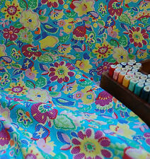 Extra Wide 100% Cotton Fabric Spotted Blue Pop Colour Floral by the METRE #045