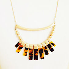NEW Designer Style Faux Tortoise Shell Geometric Pendant Chain Long Necklace