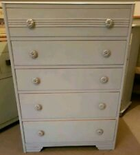 HAND PAINTED LARGE SHABBY CHIC VINTAGE CHEST OF 5 DRAWERS IN CORNFORTH WHITE F&B
