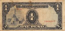 Philippines ** 1 ** Peso ND. 1940's WW II  Block {24}  circulated Banknote G. A1