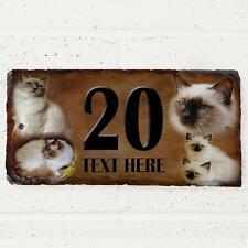Personalised Birman Cat Door House Slate Sign Name Number Plaque