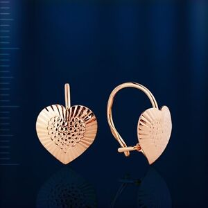 Kids earrings HEART LOVE Russian solid rose gold 585 14k heart NWT new with tags