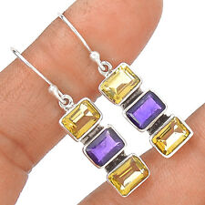 Citrine & Amethyst 925 Sterling Silver Earring Jewelry EE13894