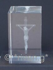 CRISTALLO LASER GESù block@3d crucifixion@paper-weight @etched image@unique Regalo