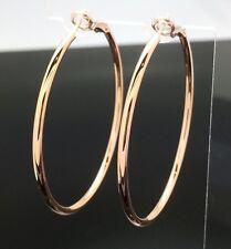 3.5cm Shiny ROSE GOLD PIERCED Large Round HOOP EARRINGS Plain Wedding Medium Big