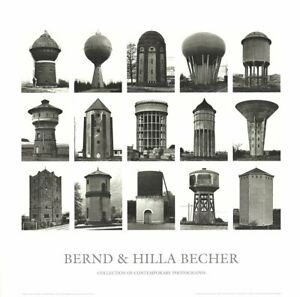 BERNHARD AND HILLA BECHER Water Towers 27.5 x 27.5 Poster 2005 Minimalism Black