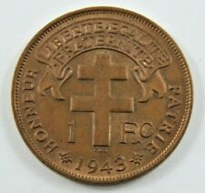 FRENCH EQUATORIAL AFRICA 1942 SA 1 FRANC BRONZE FRENCH COLONY COIN RED LUSTRE.