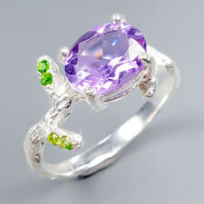 Handmade SET Natural Amethyst 925 Sterling Silver Ring Size 7.5/R121750