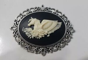 Antique Silver Cameo Brooch Pin or Necklace - Unicorn Pegasus with flowers