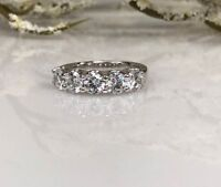 5 Stones Moissanite 3.00 Ct Wedding Anniversary Band Ring 14k White Gold Over