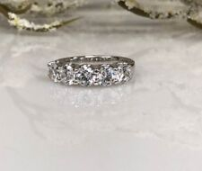 5 Stone Real Moissanite 3.00 Ct Wedding Anniversary Band Ring 14k White Gold GP