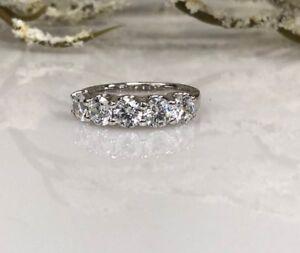 5 Stone Real Moissanite 3.00 Ct Wedding Anniversary Band Ring 14k White Gold GP
