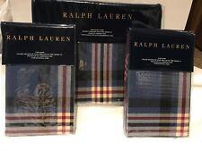 Ralph Lauren Saranac Peak Plaid King Duvet & 2 King Shams-Blue/Red/Cream