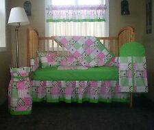 John Deere Patchwork Baby Nursery Crib Set With Light Green Trim 6