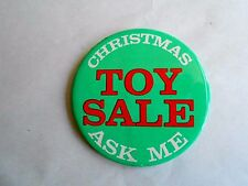 Vintage Department Store Christmas Toy Sale Advertising Pinback Button