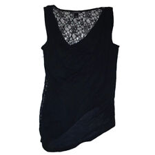 Victoria Secret Shirt Sz Medium M Lace Black Top Scoop Neck Asymmetrical