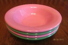 Set Of Four Pottery Barn Kids Rimmed Melamine Bowls ~ 2 Pink ~ 2 Green