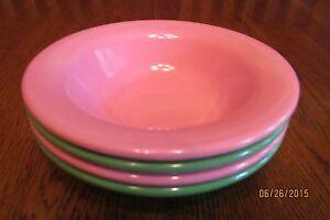 Set Of Four Pottery Barn Kids Rimmed Melamine Bowls ~ 2 Pink ~ 2 Green