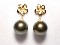 11mm Tahitian black pearl dangle earrings, solid 14k yellow gold.