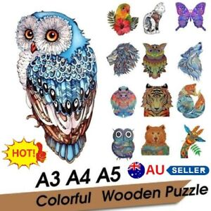 In Stock Wooden Jigsaw Puzzles Unique Animal Shape Adult Kid Child Toy AU Stock