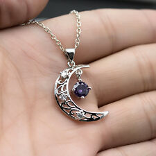 925 Silver Sapphire Moon Style Necklace Pendant Women Girl Stylish Jewelry Gifts