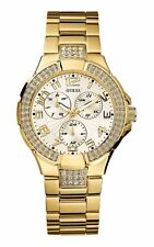 NEW GUESS LADIES G13537L MULTIFUNCTIONS DIAL CRYSTALS GOLD IP BAND WATCH