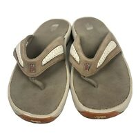 Womens North Face Flip flops, Size 9 Leather Beige Thong Sandals EUC