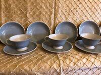 FINE INLAID CHINA SEYEI JAPAN WHITE HARVEST Tea cups, Tea Saucers, Bowls