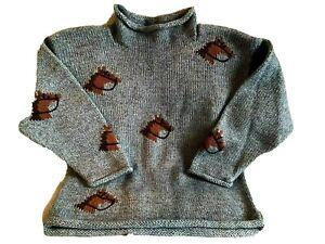 CLAVER Unisex Sweater Youth Size 10 Mini Horse Design Blue Roll Neck NWOT ~VHTF~