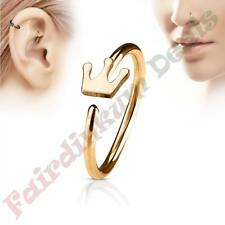 316L Surgical Steel Rose Gold Ion Plated Nose & Ear Cartilage Ring with Crown