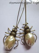 Renacimiento egipcio Art Deco Perla Escarabajo pendientes estilo Art Nouveau 1920s Vintage