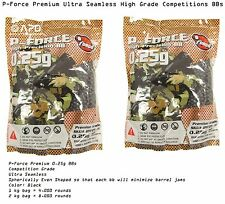 2 x P-Force Premium Precision Seamless  1 kg bag 0.25g BBs Black Airsoft bb .25