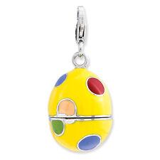 Enamel Egg Charm .925 Sterling Silver Click On Amore La Vita