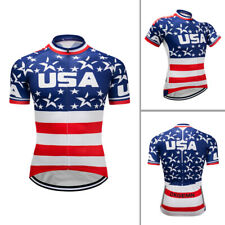 Mens Cycling Jersey MTB American Flag Bike Jerseys Shirts Short Sleeve Tops Wear