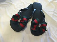 Bow Flip Flops/ Black Flat Flip Flops/Green/Red Striped Bow/Other Styles