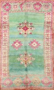 Antique Geometric Vegetable Dye Moroccan Oriental Area Rug Wool Hand-knotted 5x7