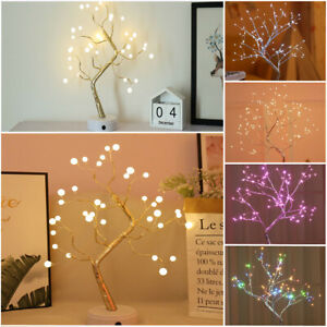 LED Birch Willow Tree Light Branch Twig Copper Wire Garland Table Lamp Home Deco