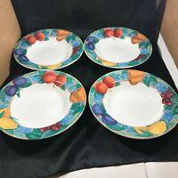 """Set of 4 Victoria & Beale FORBIDDEN FRUIT 8-1/2"""" Soup Salad Bowls"""