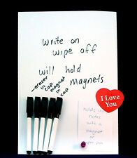 Magnetic Receptive WHITEBOARD Magnet sheet WHITE Write ON/Wipe/OFF & 5 MARKERS