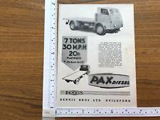 Dennis Pax Diesel press cutting advert 1956