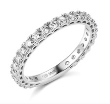 1.75 Ct Round Cut Real 14k White Gold Pavé Anniversary Wedding Bridal Band Ring