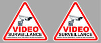 2 X VIDEO SURVEILLANCE CAMERA PROTECTION 9cm AUTOCOLLANT STICKER (VA048)