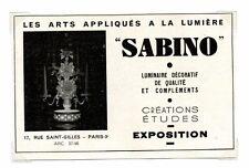 """1940 / Publicité pour Les arts appliqués a la lumière """"Sabino"""" / LD68"""