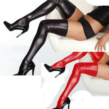 Womens Long Wetlook Stockings Red or Black