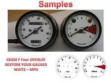 Honda CB350 F Overlay Cafe Racer Gauge Face Decal Applique MPH Dial Clocks White