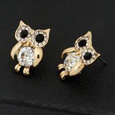 Bling Owl Earrings Post Stud  Jewelry Rhinestone Crystal For Women Animal