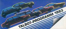 Talbot Prospekt 1983 Murena Rancho Tagora Solara Horizon Auto PKWs Autoprospekt
