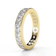 F/VS 1.50 Ct Princess Diamond Full Eternity Ring, UK Hallmarked, 18K Yellow Gold