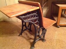 Antique Vintage  #5 Wood & Cast Iron School Desk 1900's With Glass Ink Well