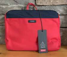 NWT TUMI Denton Travel Red Navy Packable Foldable Zippered Tote Bag w Receipt